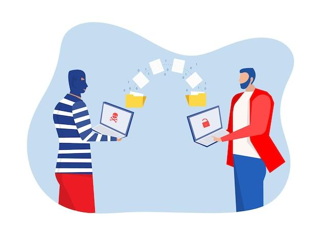 L'homme déverrouille des données avec un pirate informatique vole des données et un vecteur de concept d'informations personnelles