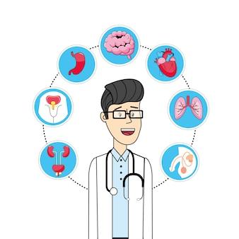 Homme avec diagnostic prévention contrôle maladie
