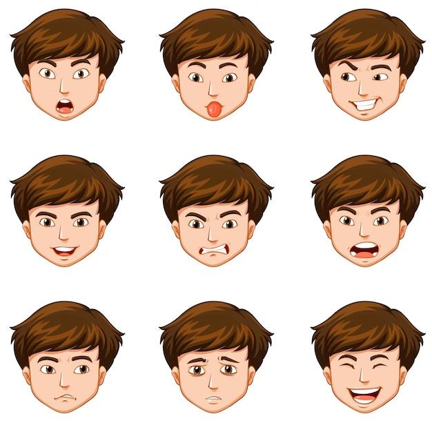 Homme avec différentes expressions faciales