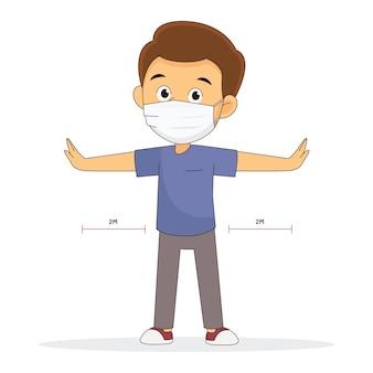 Homme à distance sociale avec des masques, virus corona, covid-19