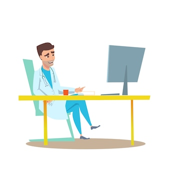 Homme docteur en illustration plat intérieur de bureau.