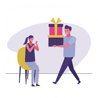 Homme donnant des cadeaux à une femme