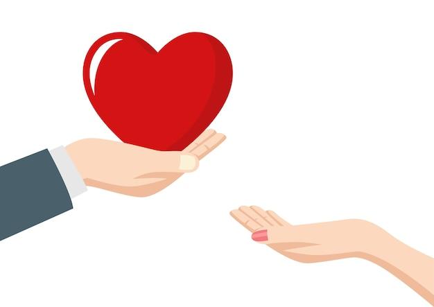 Homme donnant le coeur à une femme