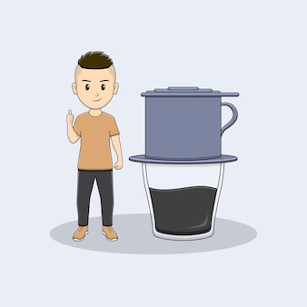 L'homme donne le pouce avec la conception de café au goutte-à-goutte du vietnam