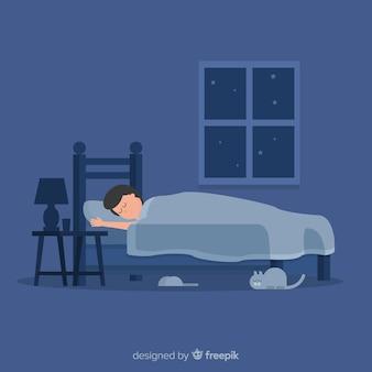 Homme, dormir, lit