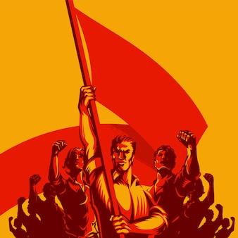 Homme, drapeau, devant, grand, foule, gens, illustration