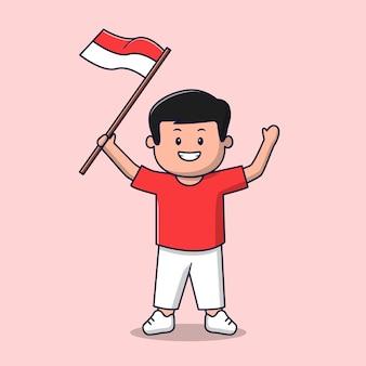 Homme, à, drapeau indonésien