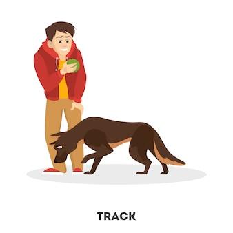 Homme dressant son chien de compagnie. commande de suivi