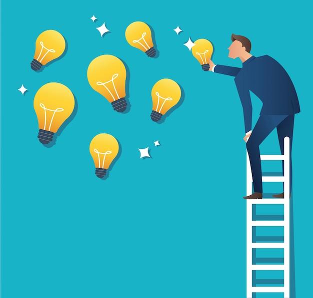Homme sur échelle pointant vers l'ampoule jaune