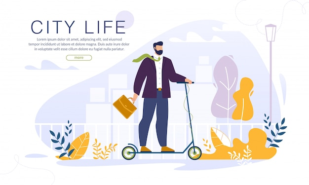 Homme sur eco eco scooter ecology city life
