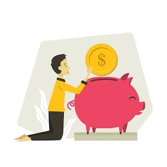 Homme, économiser, argent, illustration