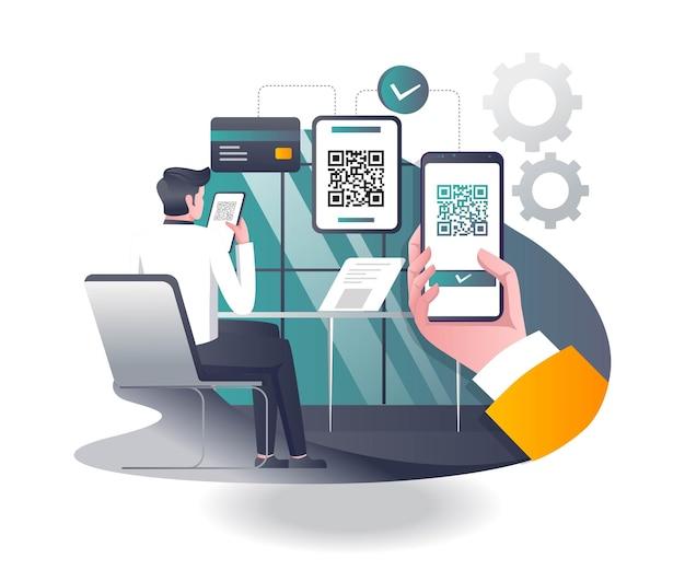 Homme effectuant le paiement avec scan de code-barres