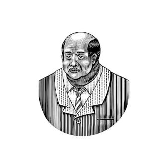 Homme élégant vieil homme afro-américain messieurs de l'ère victorienne mode et vêtements homme d'affaires en costume à la main