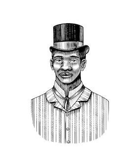 Homme élégant visage masculin afro-américain messieurs en chapeau de cylindre mode et vêtements de l'ère victorienne