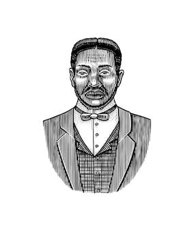 Homme élégant visage masculin afro-américain messieurs de l'ère victorienne mode et vêtements homme d'affaires en costume