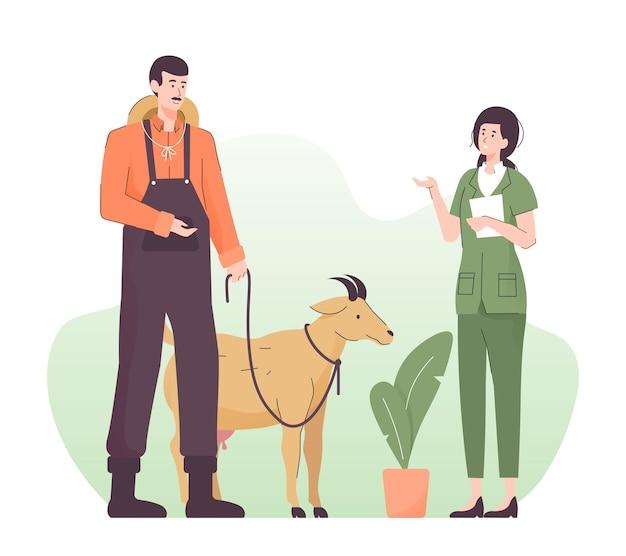 Homme emmenant sa chèvre chez le vétérinaire
