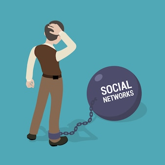 Homme enchaîné à un grand bol avec l'inscription réseaux sociaux