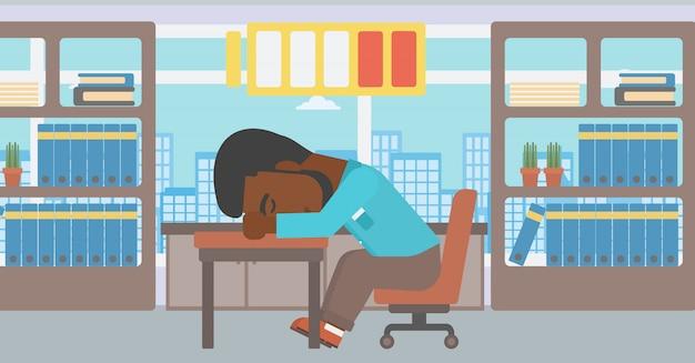 Homme endormi à l'illustration vectorielle au travail.