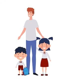 Homme avec des enfants de la rentrée scolaire