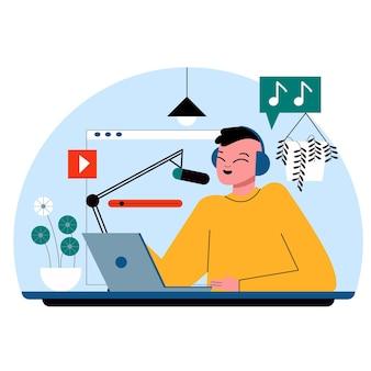 Homme enregistrant un podcast illustré