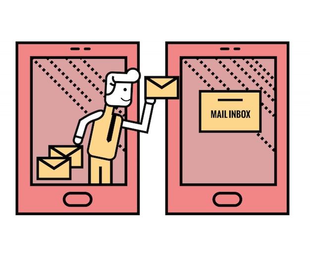 L'homme envoie des e-mails à partir d'un téléphone intelligent. illustration vectorielle en ligne