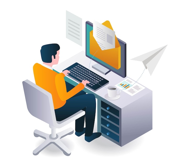 L'homme envoie des e-mails en toute sécurité et travaille au bureau