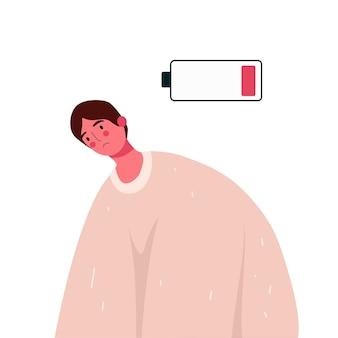 Homme d'épuisement émotionnel avec batterie faible