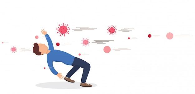 L'homme esquivant reflète les bactéries. concept de prévention des virus. protéger le système immunitaire contre les mauvaises bactéries. barrière contre les virus.