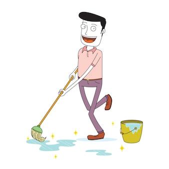 Homme essuyant le sol joyeusement