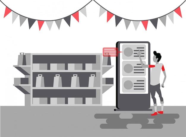 Un homme est dans un magasin pour choisir des articles à acheter sur une illustration plate de kiosque