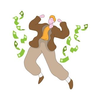 Un homme est heureux parce qu'il a un gros profit