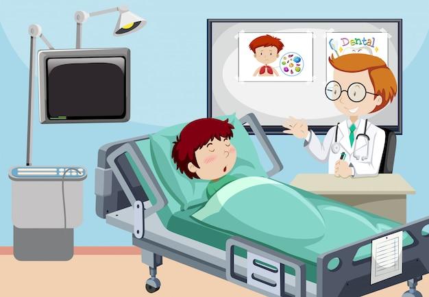 Un homme est à l'hôpital