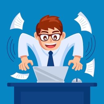 Homme est occupé à travailler avec une illustration de design plat pour ordinateur portable