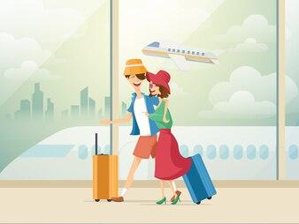 Homme et femme avec des bagages