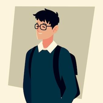 Homme étudiant avec lunettes et personnage de sac, illustration de l'université des étudiants