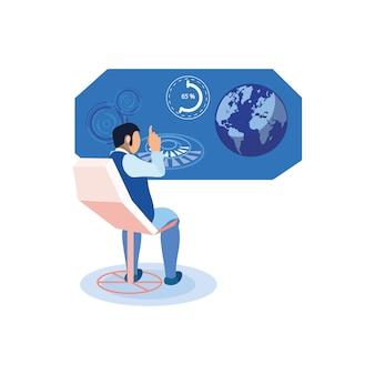 Homme, étudier, Statistiques, Illustration Vecteur Premium