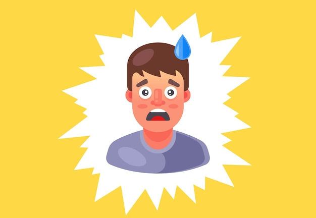 L'homme a eu peur et la sueur coule sur son front. émotion de surprise. illustration vectorielle plane.