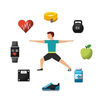 Homme exerçant avec des icônes de mode de vie sain autour