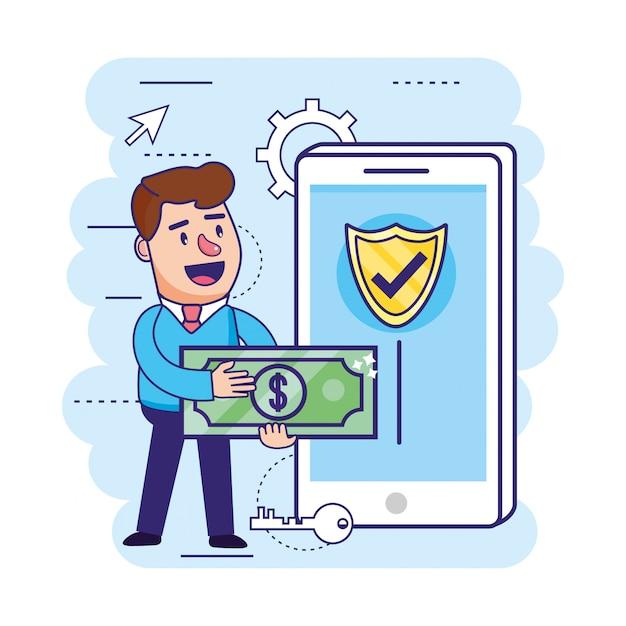 Homme avec facture et smartphone avec bouclier de sécurité