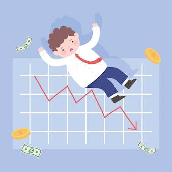 L'homme de la faillite avec la chute de la crise financière des processus d'affaires de l'argent graphique