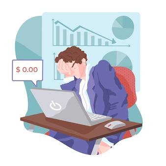 Homme de faillite design plat perd son salaire
