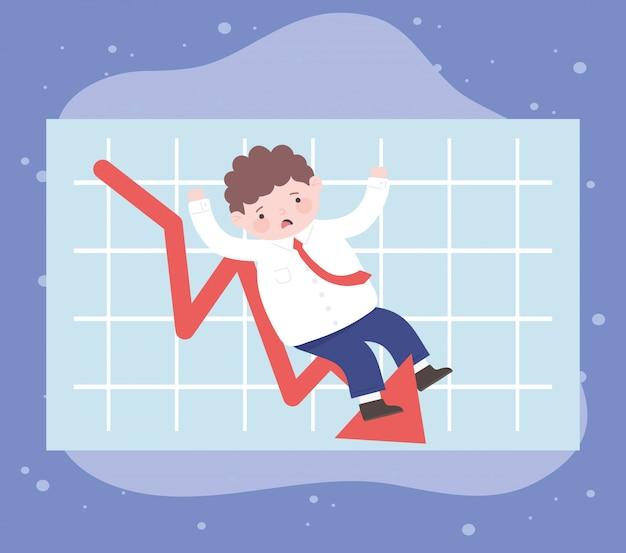 L'homme de la faillite tomber avec la crise financière de processus d'affaires graphique de récession