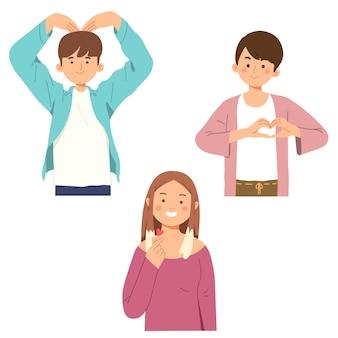 Homme, faire, amour, coeur, main, geste, coréen, saranghae