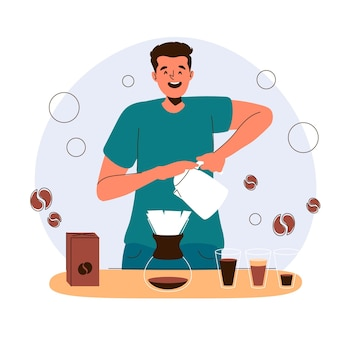 Homme, faire, café, illustration