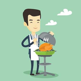Homme faisant cuire le poulet sur la grille du barbecue.
