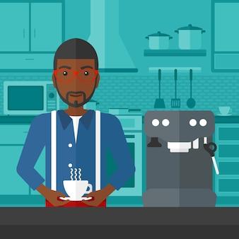 Homme faisant du café
