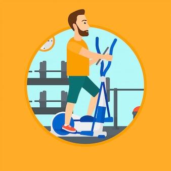 Homme faisant de l'exercice sur un vélo elliptique.