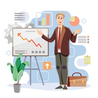 Homme faisant la présentation de son concept de travail. progression et mise à jour. succès et profit. vecteur et illustration.