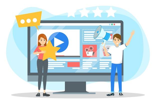 Homme faisant la promotion de blog vidéo. publicité de contenu