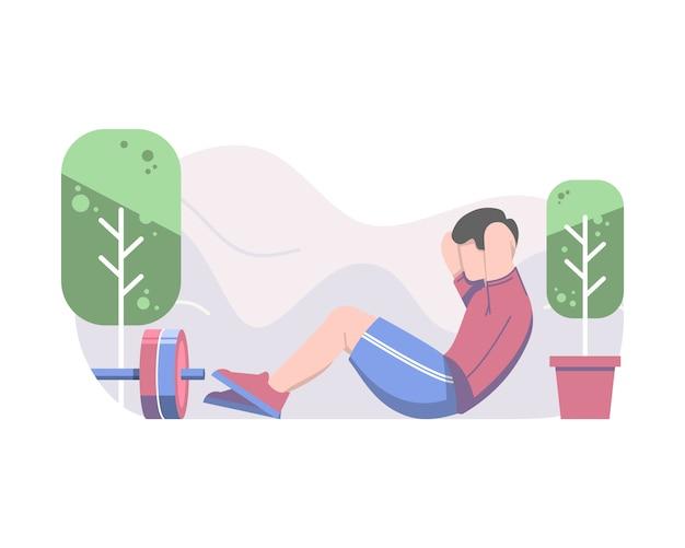 Homme faisant sit up plate illustration vectorielle